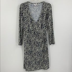 JUDE CONNALLY black & white faux wrap front dress